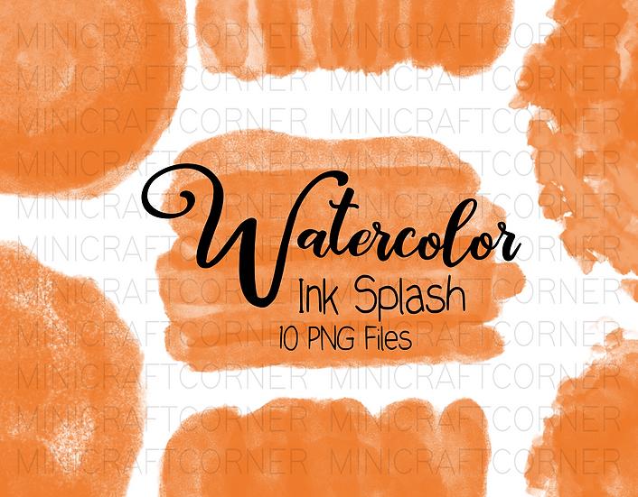 DIGITAL Orange Watercolor Paint Splotch