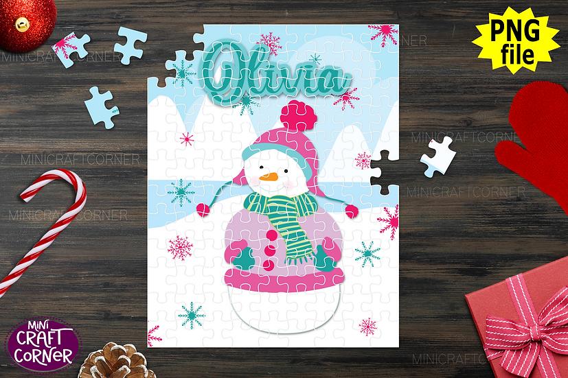 DIGITAL Sublimation Snowman Puzzle