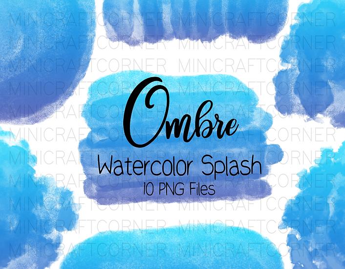 DIGITAL Blue Ombre Watercolor Paint Splotch