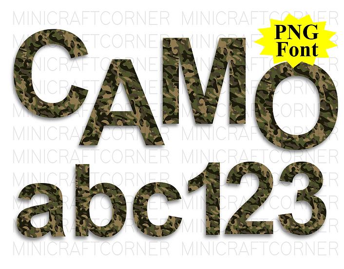 DIGITAL Camo Letter PNG Files