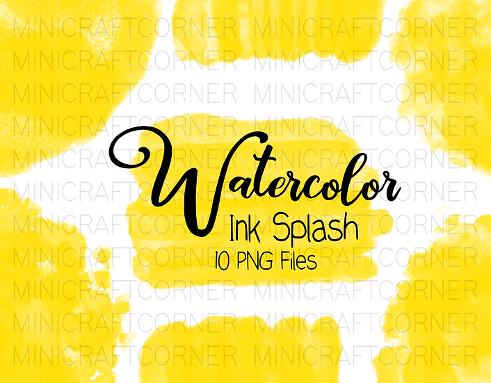 DIGITAL Yellow Watercolor Paint Splotch