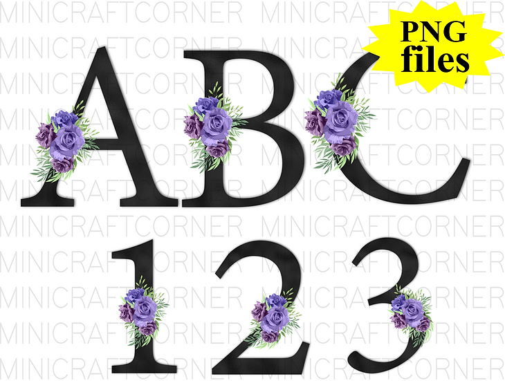 DIGITAL Black with Purple Floral Letters PNG Files