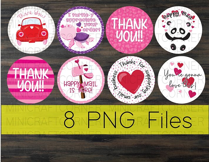 PNG - Valentines Thank You Stickers
