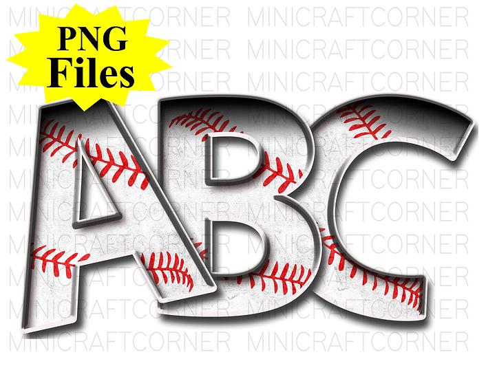 DIGITAL Baseball Letters PNG Files