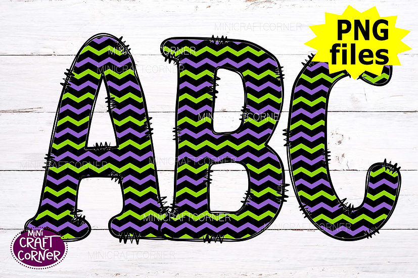 DIGITAL Halloween Green and Purple Letters PNG Files
