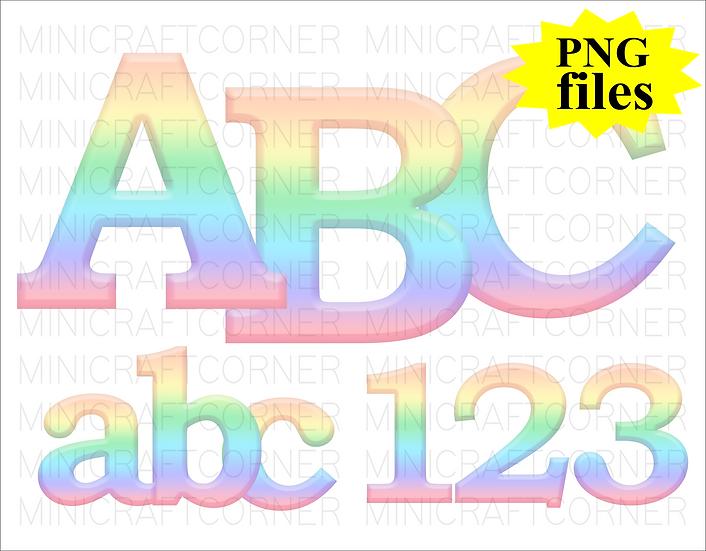 DIGITAL Pastel Rainbow Letters PNG Files