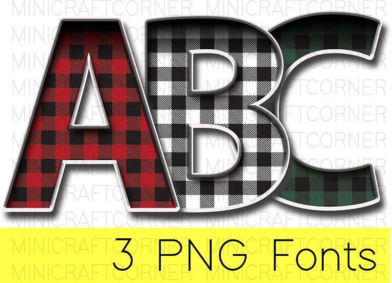 DIGITAL Red, Green, and White Buffalo Plaid Marquee Letter Files