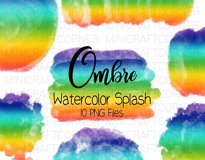 DIGITAL Rainbow Ombre Watercolor Paint Splotch