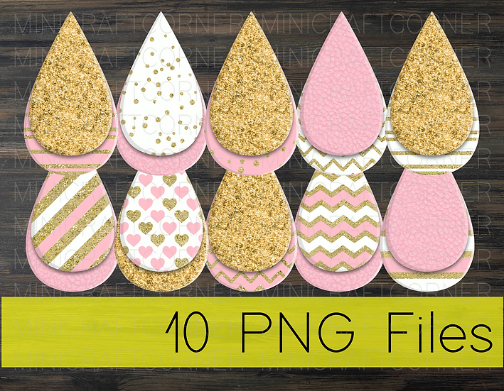 PNG -Pink and Gold Earrings Design File