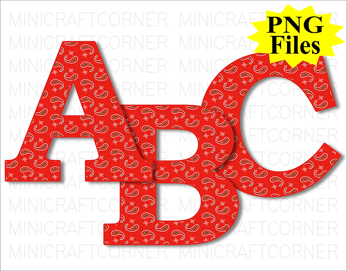 DIGITAL Red Western Letters PNG Files