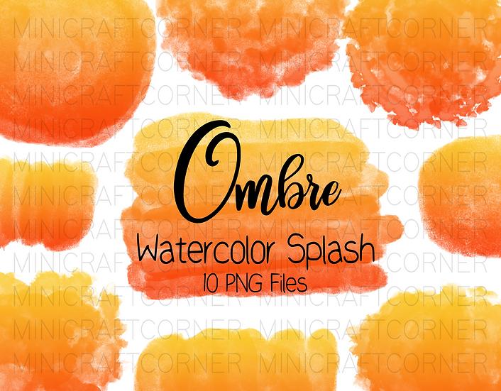DIGITAL Yellow Orange Ombre Watercolor Paint Splotch