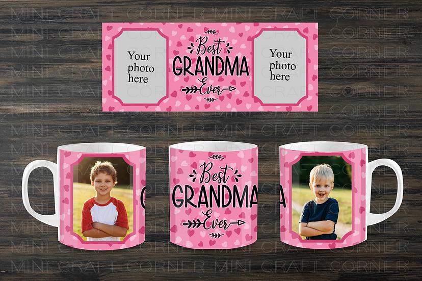DIGITAL Best Grandma Ever Photo Mug Wrap