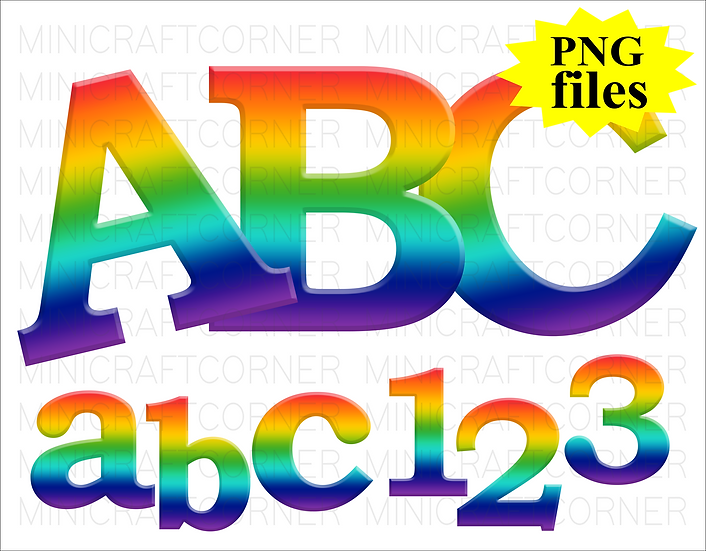 DIGITAL Rainbow Letters PNG Files