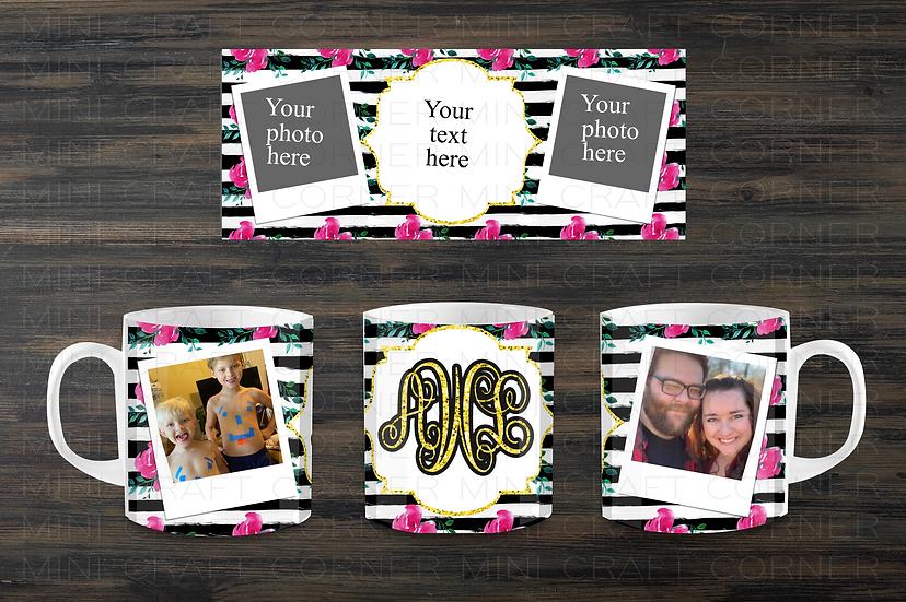 DIGITAL Black and Pink Photo Mug Wrap