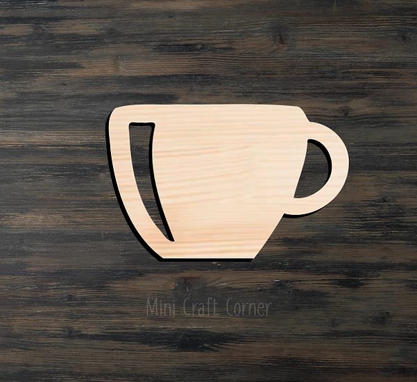 Coffee Cup Wooden Cutout
