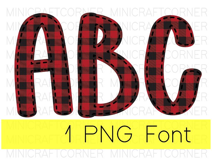 DIGITAL Red Buffalo Plaid Letter PNG Files