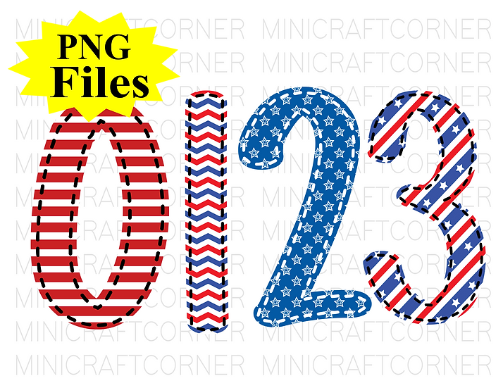 DIGITAL 4th of July Number PNG Files