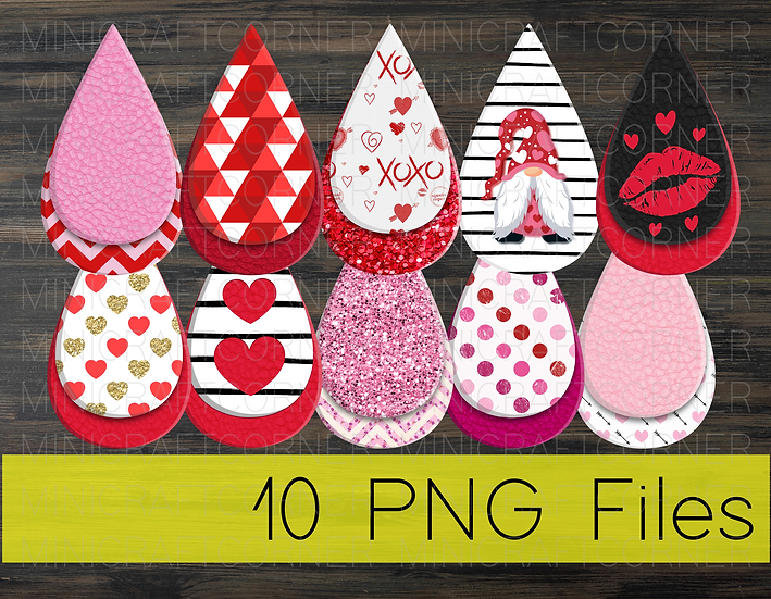 PNG -Valentines Earrings Design File 3