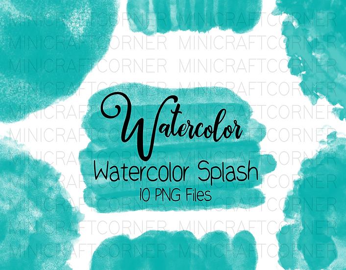 DIGITAL Teal Watercolor Paint Splotch
