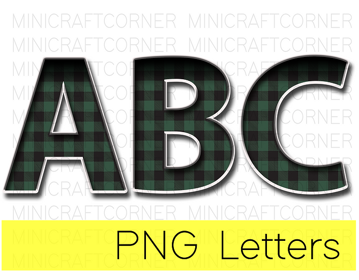 DIGITAL Green Buffalo Plaid Marquee Letter Files
