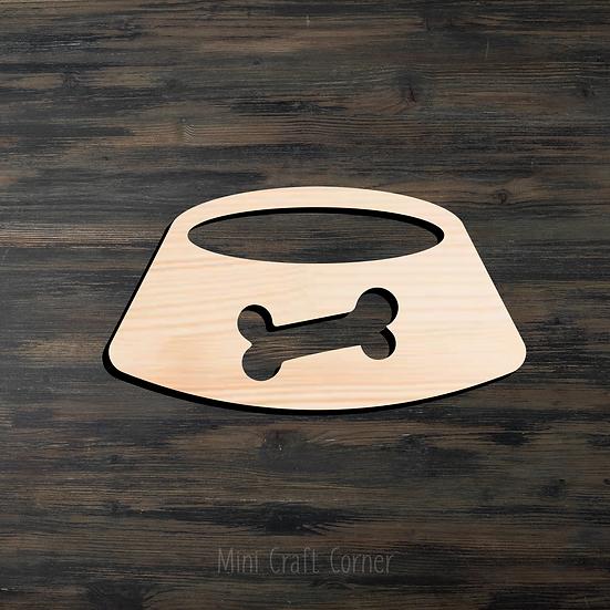 Dog Bowl Wooden Cutout