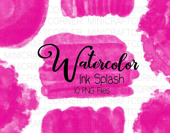 DIGITAL Pink Watercolor Paint Splotch