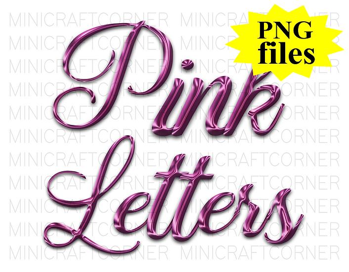 DIGITAL Pink Fancy Letters PNG Files