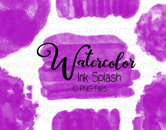 DIGITAL Purple Watercolor Paint Splotch