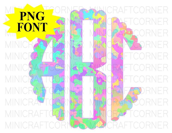 DIGITAL Iridescent Camo Monogram Files