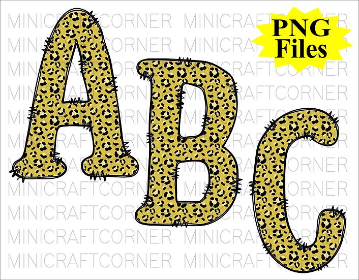 DIGITAL Yellow Cheetah Letters PNG Files
