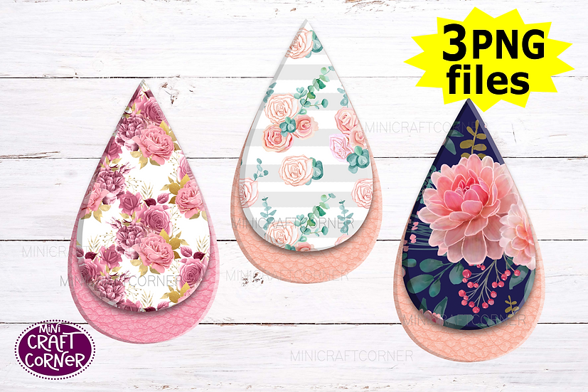 DIGITAL Sublimation Floral Earrings