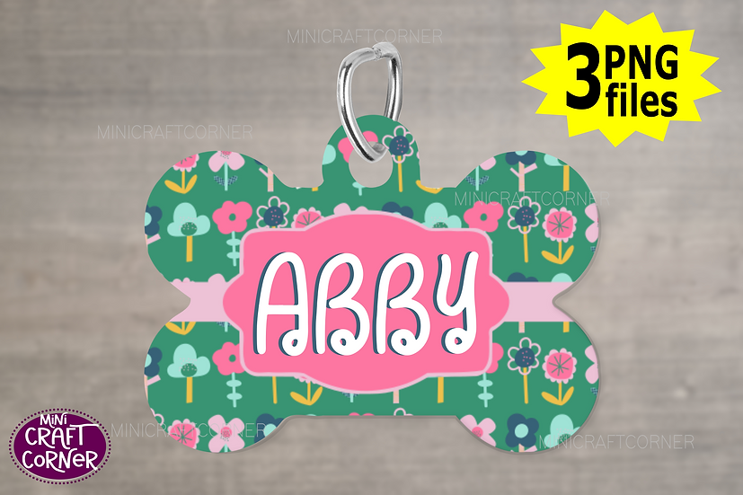 DIGITAL Green and Pink Floral Dog Tag File
