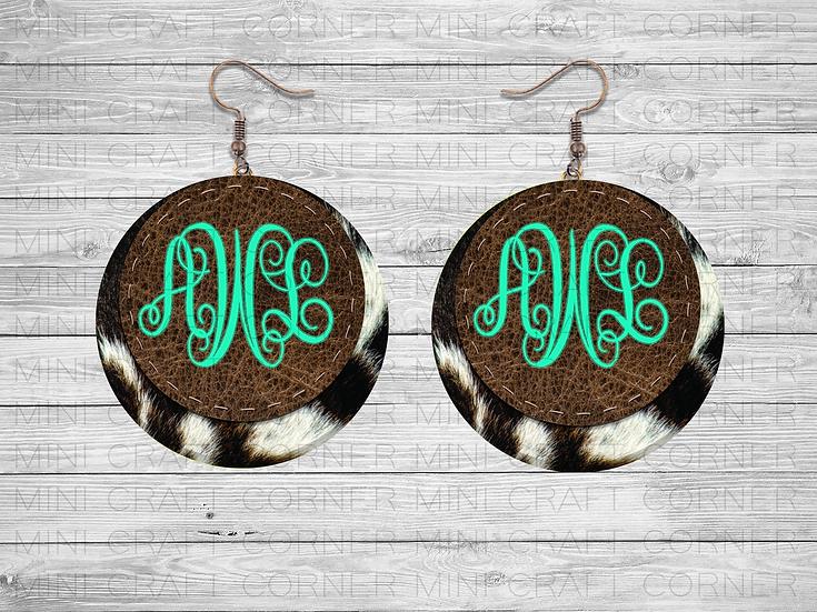 PNG Cowhide Earring Design 2