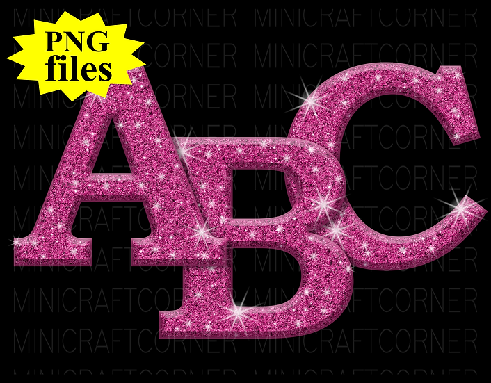 DIGITAL Pink Glitter Letters PNG Files