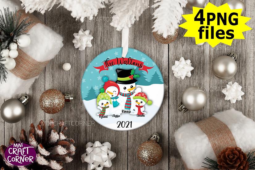 DIGITAL Sublimation Snowman Ornament