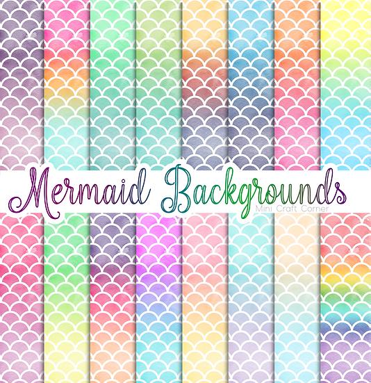 DIGITAL Mermaid Watercolor Papers