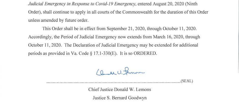 JUDICIAL EMERGENCY EXTENDED