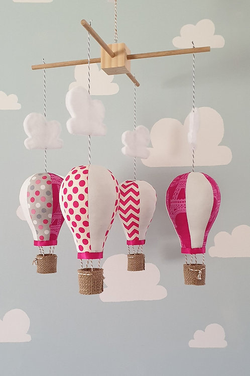 Hot Air Balloon mobile - Hot pink and white