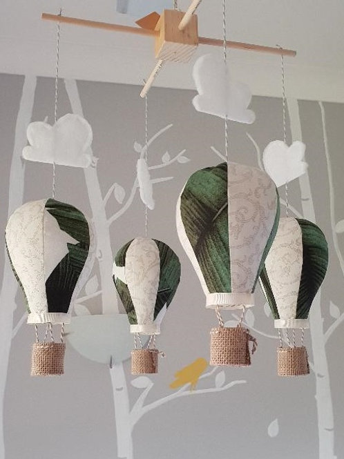 Hot Air Balloon mobile - Palm leaf and ivory