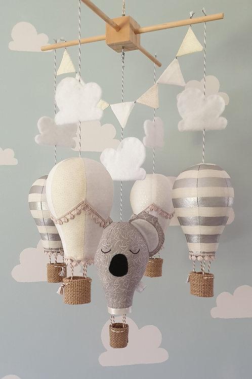 Hot Air Balloon mobile - Koala, Ivory, Silver and white