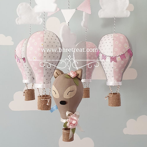 Hot Air Balloon mobile - Doe, Pink, white, and grey