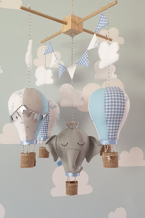 Hot Air Balloon mobile - Elephant, baby blue and white