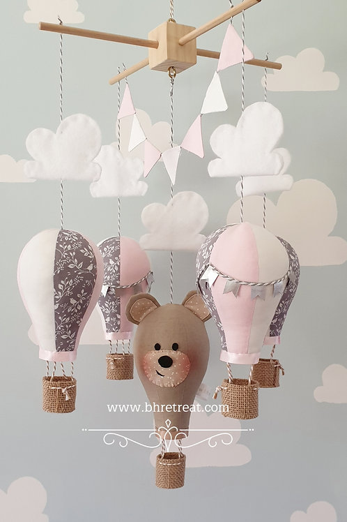 Hot Air Balloon mobile - Teddy, Pink, grey and white