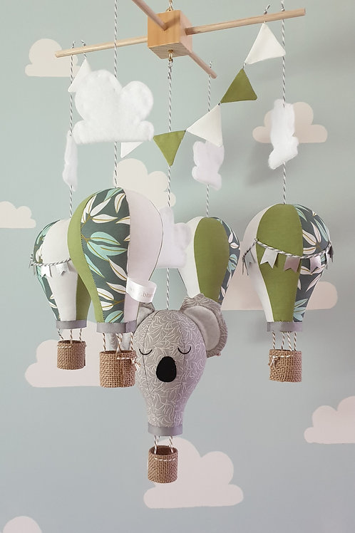 Hot Air Balloon mobile - Koala, Pistachio, white, and gum leaf