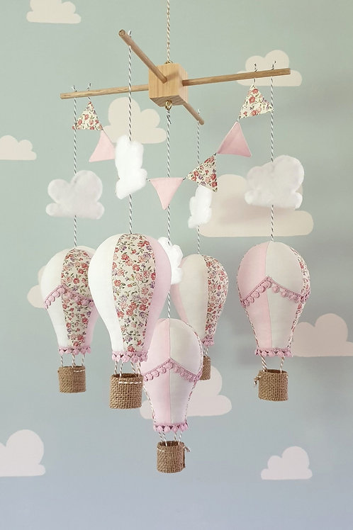 Hot Air Balloon mobile - Pink and white