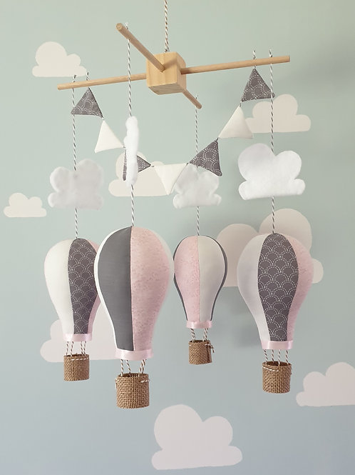 Hot Air Balloon mobile - Pale pink,  French grey and white
