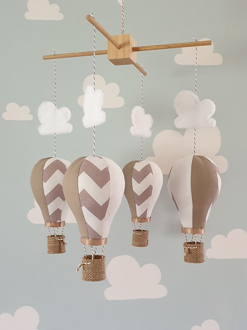 Hot Air Balloon mobile in Latte and White