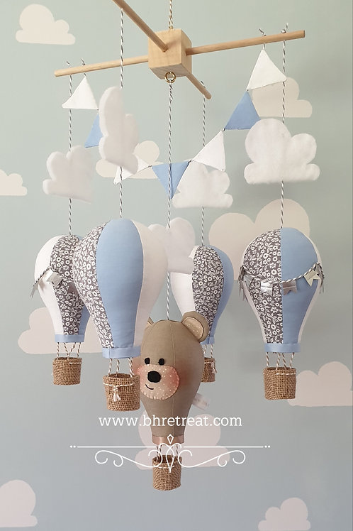 Hot Air Balloon mobile - Teddy, Blue, grey and white