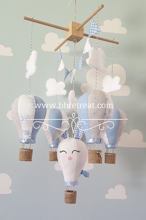 Hot Air Balloon mobile - Rabbit, baby blue and white