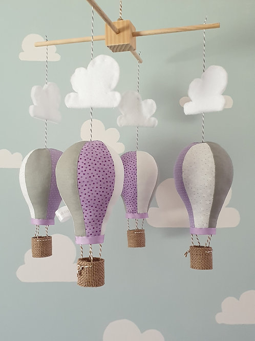 Hot Air Balloon mobile - Lilac, grey and white